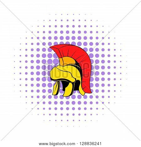Roman legionary helmet icon in comics style on a white background