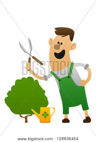 cartoon character cheerful gardener with clippers and a bush