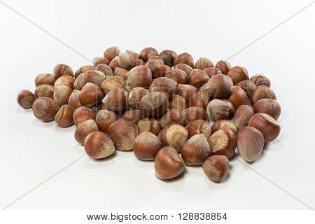 isolated shelled nuts on white background image.