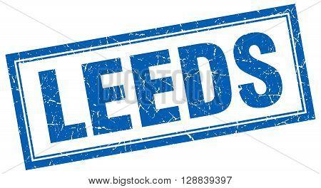Leeds blue square grunge stamp on white