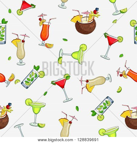 Seamless vector pattern of the different cocktails. Bright summer tasty alcoholic cocktails. Pina colada tequila sunrise margarita mojito coconut cosmopolitan. Vector illustration on a gray background.