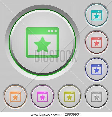 Set of color Favorite application sunk push buttons.