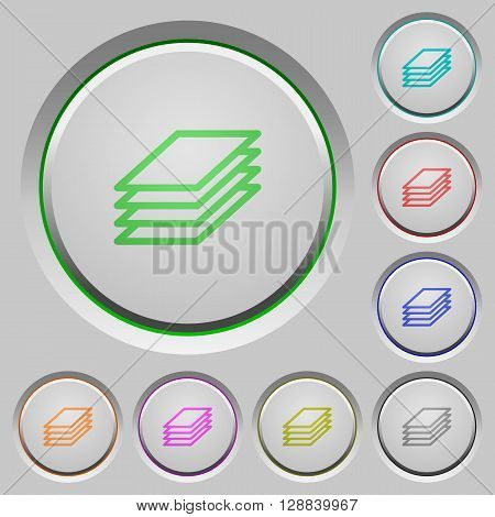 Set of color Printing papers sunk push buttons.