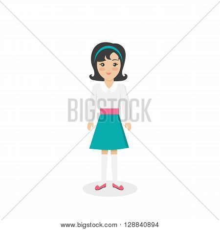 Arabian traditional clothes people. Arab traditional muslim, arabic girl clothing, east arabian dress, ethnicity islamic face, person human girl isolated on white. Vector illustration