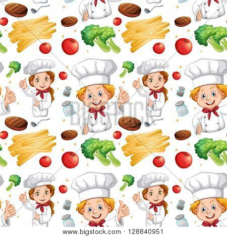 Seamless chef and different ingredients illustration