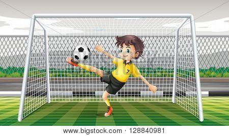 Goalkeeper kicking soccer ball illustration