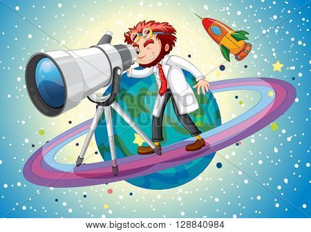 Scientist with giant telescope illustration