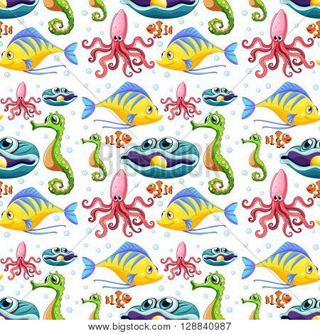 Seamless sea animals and bubbles illustration