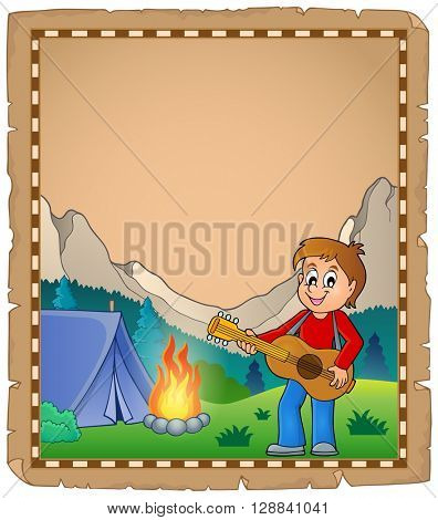 Parchment with boy guitarist in camp 2 - eps10 vector illustration.