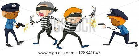 Policeman and criminal fighting illustration