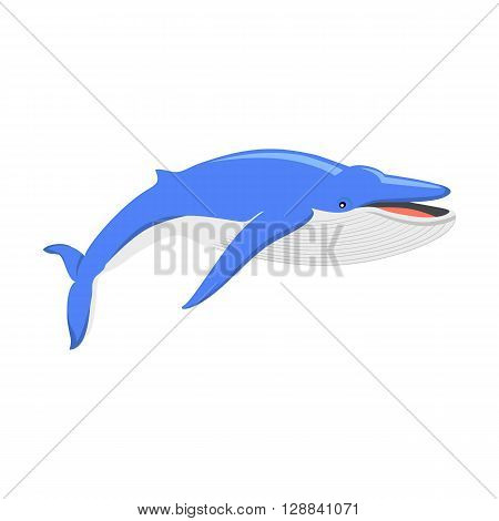 Blue whale isolated on white background. Largest animal in the world, the blue whale. Huge creating floating in the ocean or the sea. Big mammal with tail and fin living in water. Vector illustration