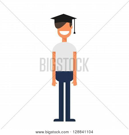 Flat style of young graduate student in black hat