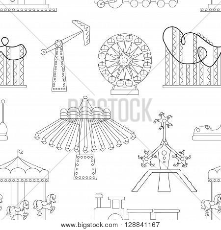 Pattern of Amusement park or funfair attraction icons. Vector illustration, EPS 10