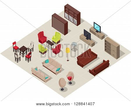 Furniture set isometric design. Frniture isometric, wardrobe and sofa, interior comfortable, relaxation sit, comfort elegance indoor object, lamp and armchair, table fashion item, vector illustration