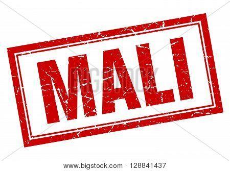 Mali red square grunge stamp on white