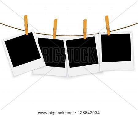 Photo frames on rope with clothespins vector background