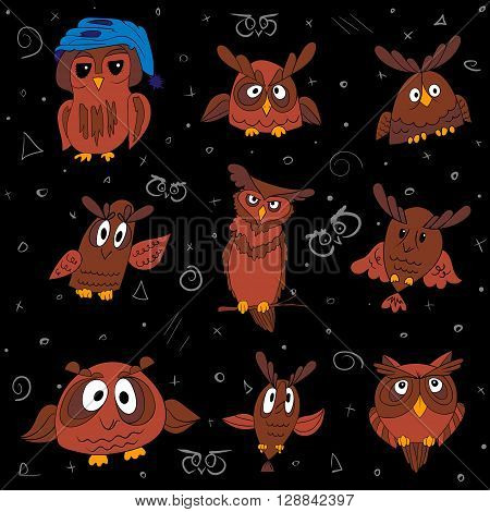 Set of nine funny owls, colorized vector on black background owls for your design