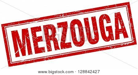Merzouga red square grunge stamp on white