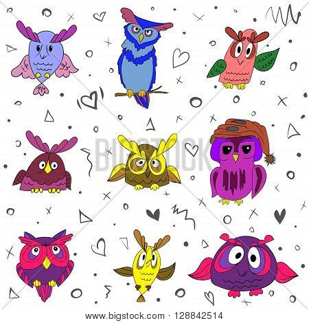 Set of nine funny owls, colorized vector on white background owls for your design