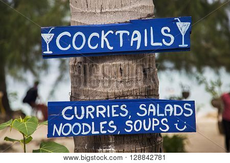 Signs For Drinks And Food In Thailand