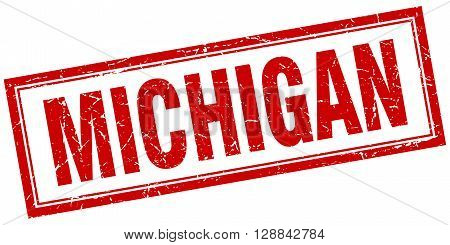 Michigan red square grunge stamp on white