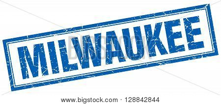 Milwaukee blue square grunge stamp on white