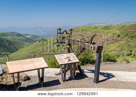 GAMLA, ISRAEL - APRIL 7: Ancient wooden catapult reconstruction of a Roman ballista in the Gamla Nature Reserve, Israel on April 7, 2016