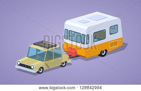 Beige sedan with orange-white camper against the violet background. 3D lowpoly isometric vector illustration