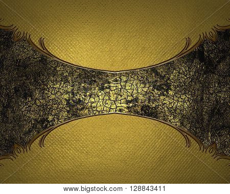 Yellow Background With A Golden Hue With A Dark Plate. Template For Design. Copy Space For Ad Brochu
