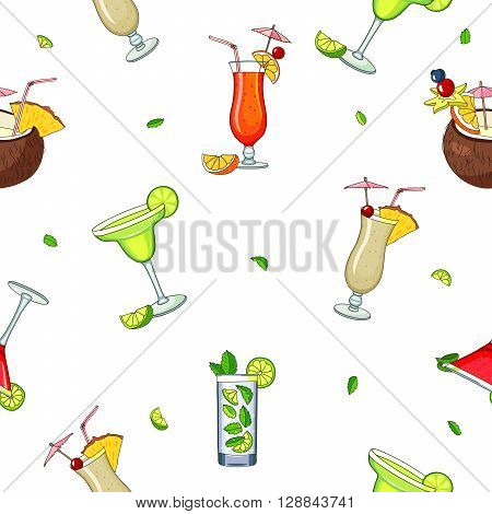 Seamless vector pattern of different cocktails. Bright summer tasty alcoholic cocktails. Pina colada tequila sunrise margarita mojito coconut cosmopolitan. Vector illustration on white background.
