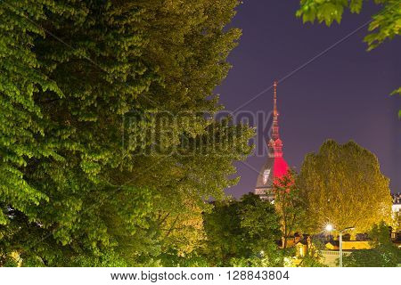 Torino (Turin Italy) panorama cityscape with lush green trees. Mole Antonelliana glowing with Torino FC garnet colors in memory of the 1949 Superga airplane crash carrying the entire Torino FC team.