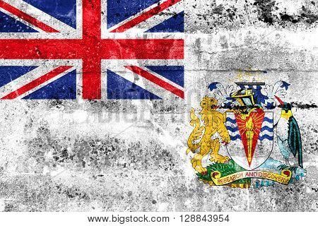 Flag Of The British Antarctic Territory, Painted On Dirty Wall. Vintage And Old Look.