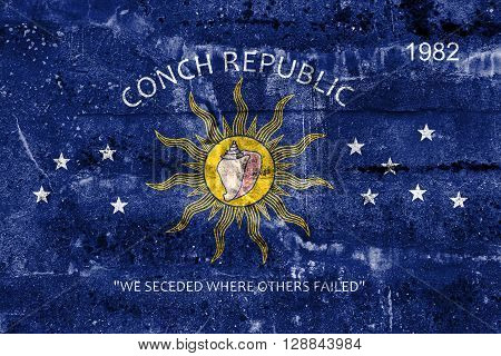 Flag Of The Conch Republic (key West, Florida), Painted On Dirty Wall. Vintage And Old Look.