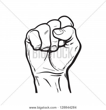 Clenched fist. Hand clenched fist. Hand showing a fist. hand. Hand drawn fist. Skertch fist. Hand shows the strength, power, victory. The symbol of strength, freedom, and rights.