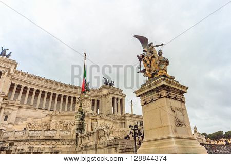 ROME - January 09: View of the Piazza Venezia in Rome January 09 2016 in Rome Italy.Rome Italy.