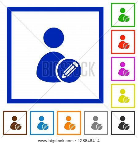 Set of color square framed Edit user profile flat icons on white background