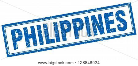 Philippines blue square grunge stamp on white