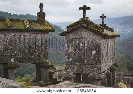 Typical Stone Granaries At Soajo, Portugal