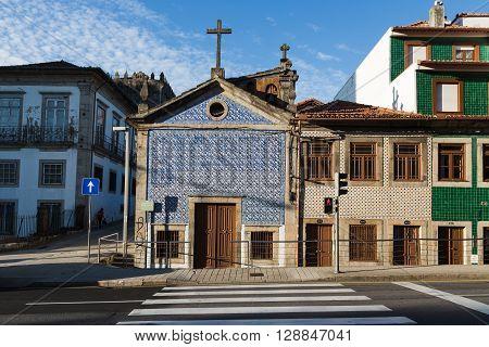 Empty Street With Church In Porto, Portugal