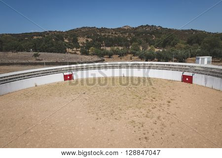 Top View Of An Empty Bullring In Portugal