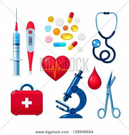 Tools for medical research, the icons on the white background, colored objects medical flat style hand-drawn, heart, icons, microscope, thermometer, syringe, medicines, first aid kit