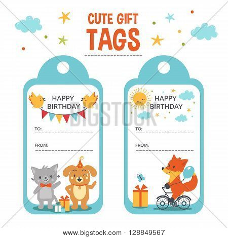 Cute gift tags vector templates. Birthday Gift tags with text place and cute animals.