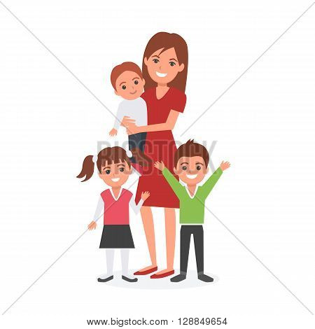 Mother with kids vector illustration. Happy family. Mother's Day.