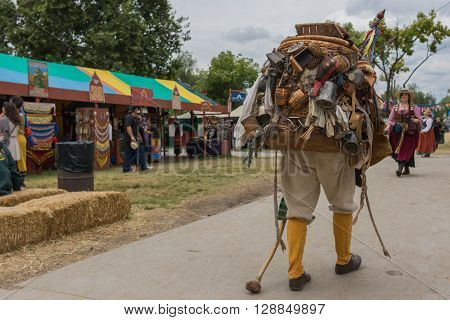 Man With Medieval Traveler Costume