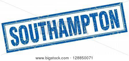 Southampton blue square grunge stamp on white