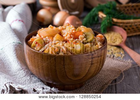 Bowl of delicious homemade leek and carrot stew
