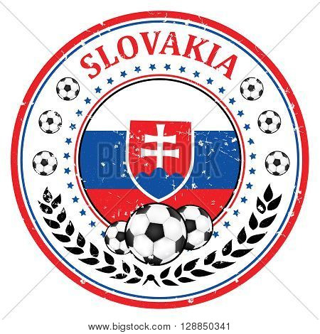 Printable Slovakia soccer team grunge stamp. Slovakian football national team sign, containing a soccer ball and the flag of Slovakia. Print colors used