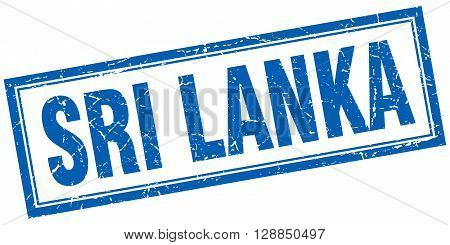 Sri Lanka blue square grunge stamp on white