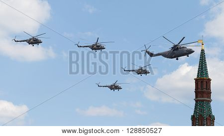 Moscow - May 7 2016: Military helicopters during the final rehearsal of the Victory parade pass on Victory Parade May 7 2016 Moscow Russia