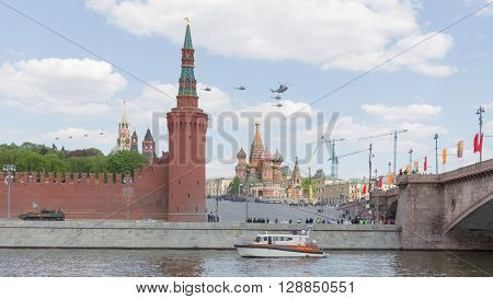 Moscow - May 7 2016: Military helicopters during the final rehearsal of the Victory parade fly over Red Square May 7 2016 Moscow Russia